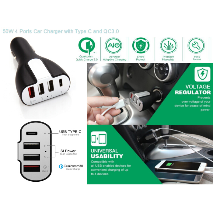 TYPE C+QC3.0    4usb car charger